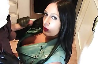 Goth girl with curvy huge round tits sucks on dick in leather jacket