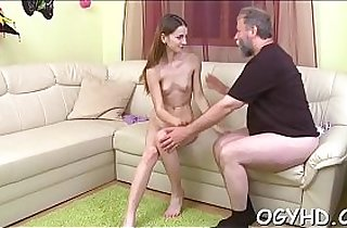 Cute young angel fucked by old guy