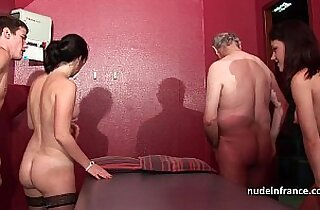Young babes banged and sodomized in 4some with Papy Voyeur