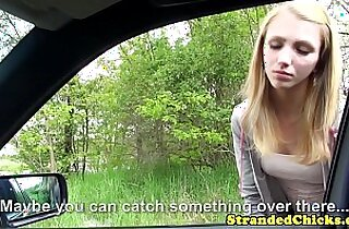Young hitchhiker pays ride with pussy