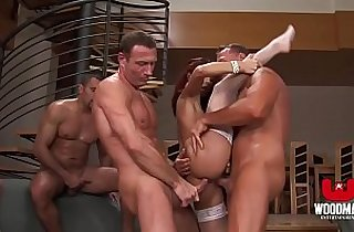 Red Haired bitch gets a Bukkake and Cream pie HD Gang Bang
