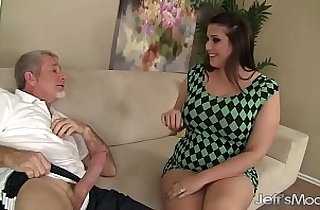 Sexy thick white girl Angel DeLuca fucks and takes cum in her mouth